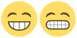 Two versions of grinning face with simling eyes from EmojiOne