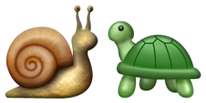 Tina and Shelby, or the snail and turtle emoji