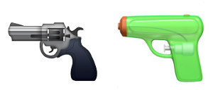 Apple's pistol emoji in iOS9 and iOS10