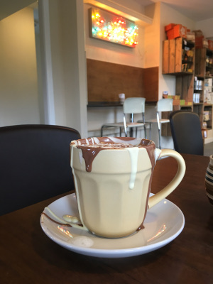 Alex's hot chocolate from Cocoa Mountain