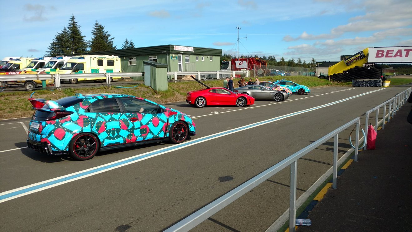 Cars at the Knockhill driving experience