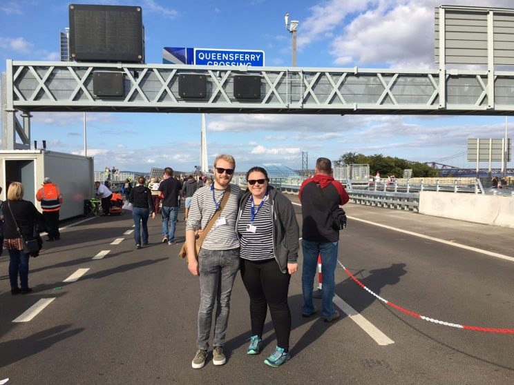 Me and Alex at the start of our Queensferry Crossing walk