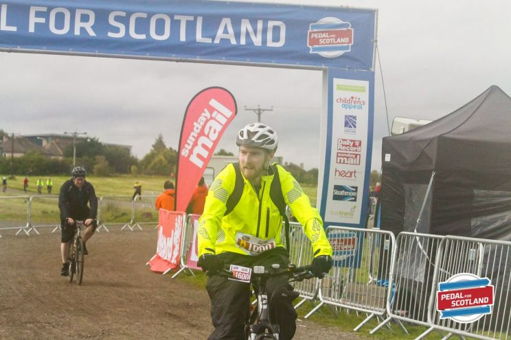 Crossing the finish line at Pedal for Scotland