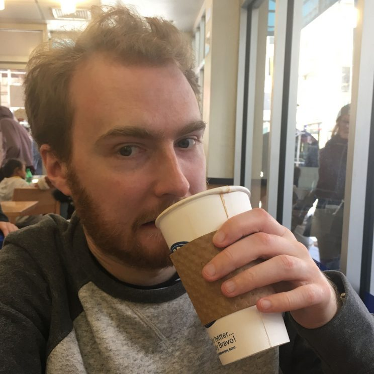 Drinking a terrible coffee