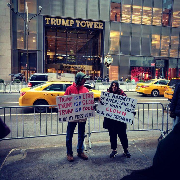 Demonstrators at Trump Tower