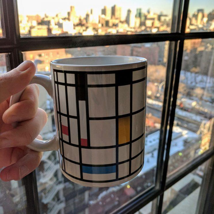 Heat-changing Mondrian mug