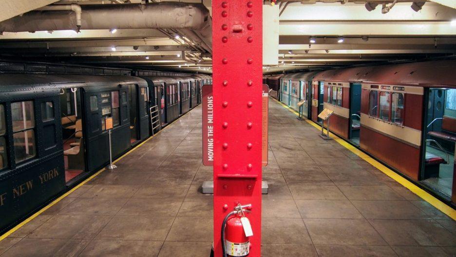 Vintage subway trains