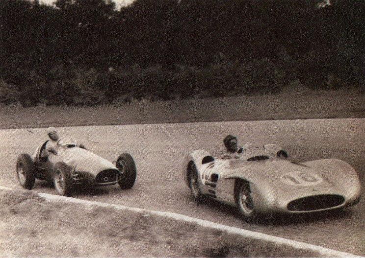 Alberto Ascari chasing Juan Manuel Fangio at the 1954 Italian Grand Prix