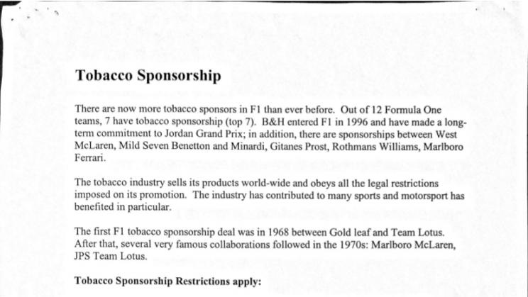 Tobacco Sponsorship factsheet from Jordan Grand Prix