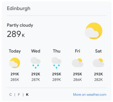 Google weather forecast in kelvin