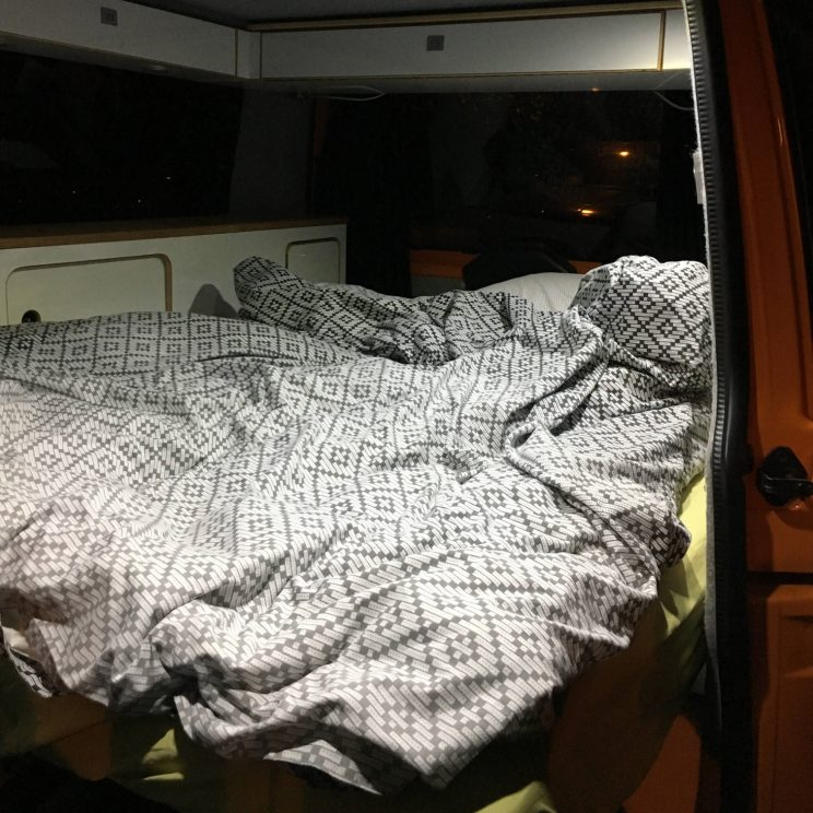 Our bed for the night in London inside the campervan