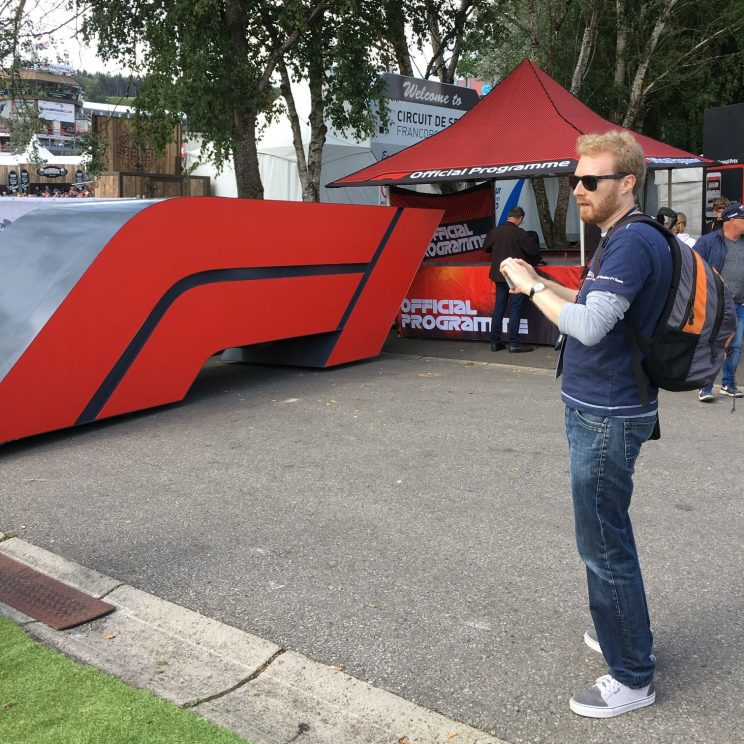 Me taking a photo of the 3D F1 logo in the fanzone