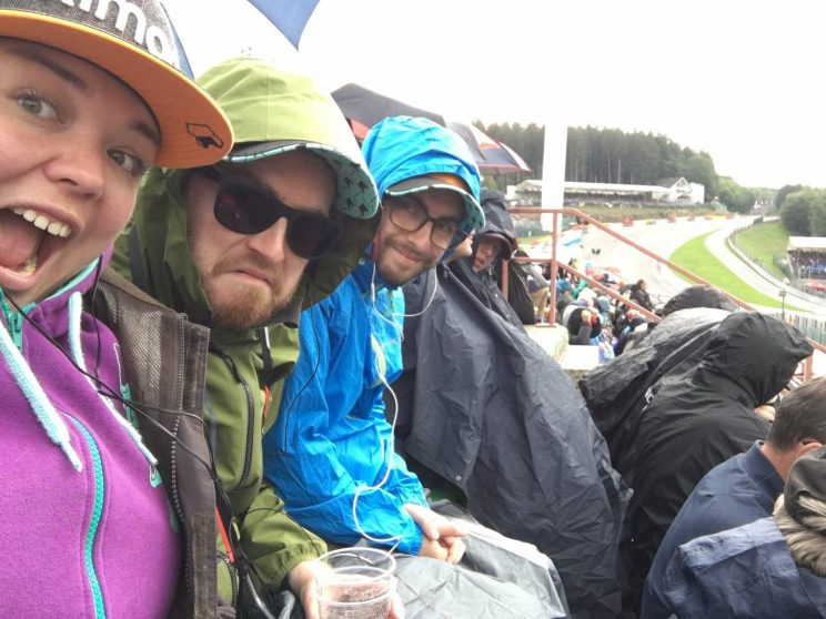Alex, me and Gordon watching qualifying in the rain
