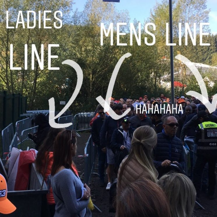 "Alex's Instagram post of the queues: ""Ladies line / mens line - hahahaha"""