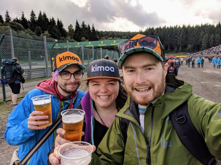 Gordon, Alex and me with our beers at the Verstappen grandstand