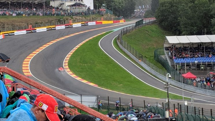 Ferrari heading up Eau Rouge in the rain during qualifying