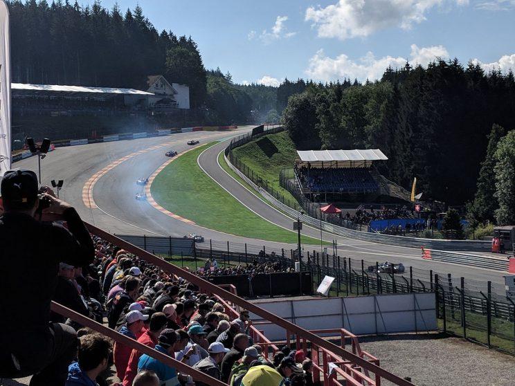 Formula 2 cars heading up Eau Rouge