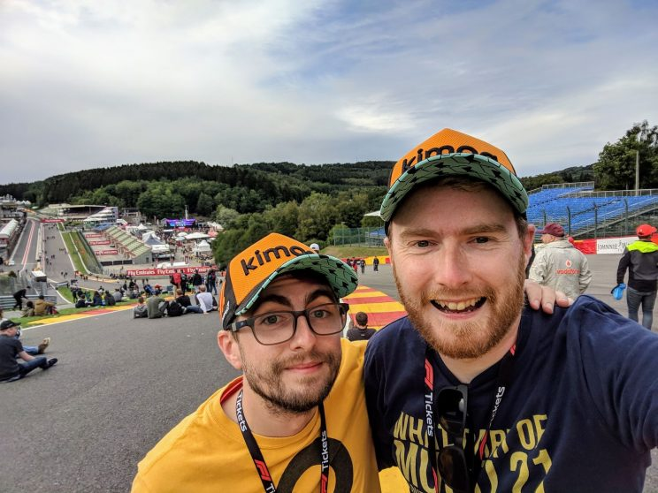 Gordon and me posing at Raidillon looking down towards Eau Rouge