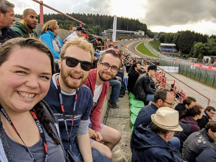 Alex, me and Gordon sitting in our grandstand seats