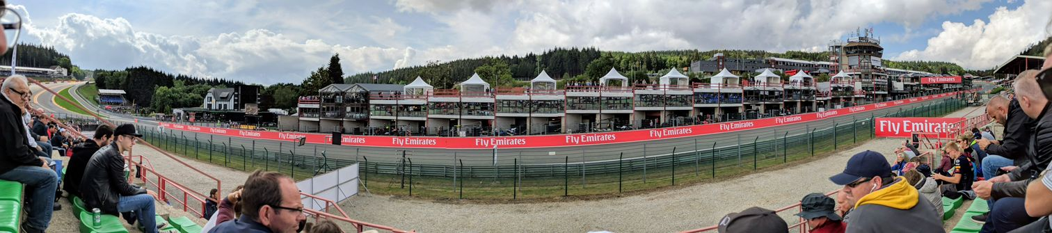 The view from our grandstand seat, on the approach to Eau Rouge