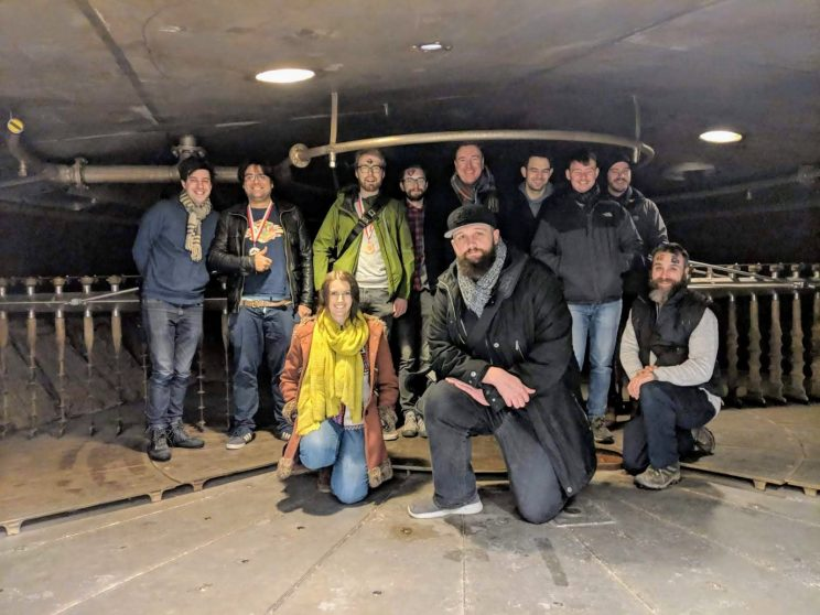 The group inside the mash tun