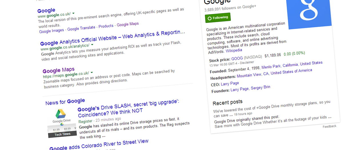 Google search engine results page screenshot