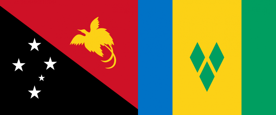 Flags of Papua New Guinea and Saint Vincent and the Grenadines