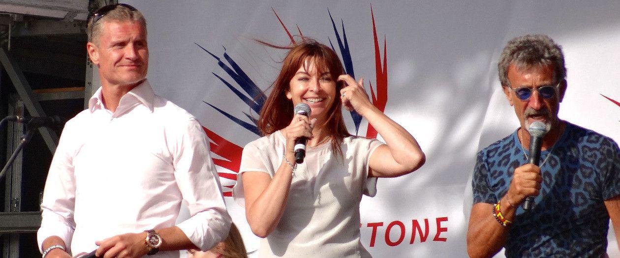 BBC F1 presenters David Coulthard, Suzi Perry and Eddie Jordan