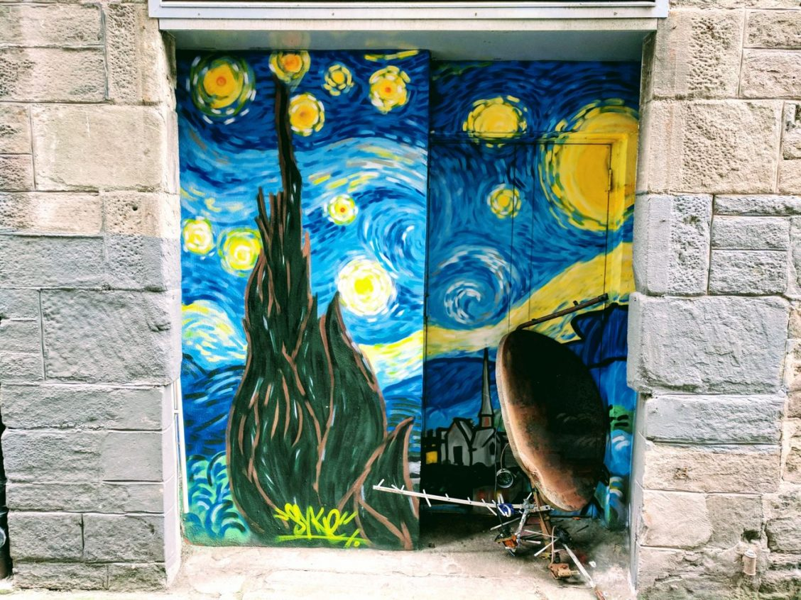 Dundee Open/Close street art - by Skye