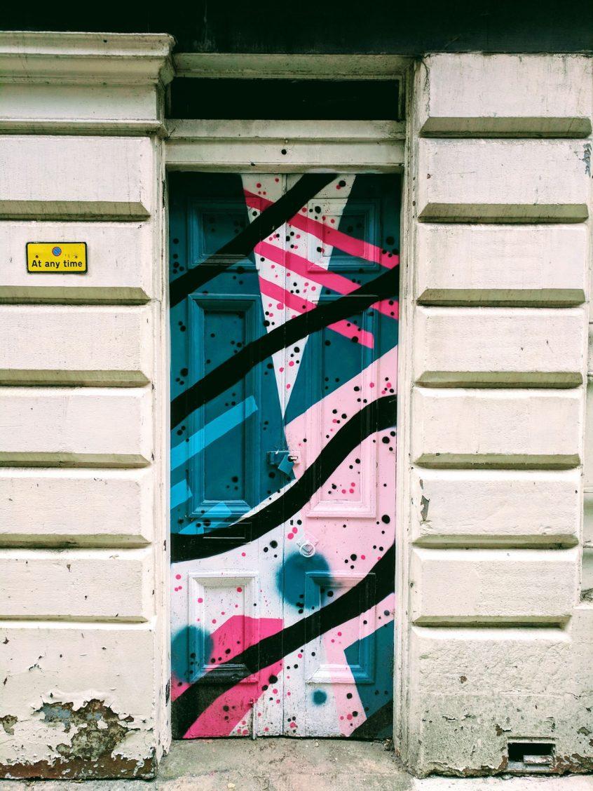 Dundee Open/Close street art - by Katie Guthrie