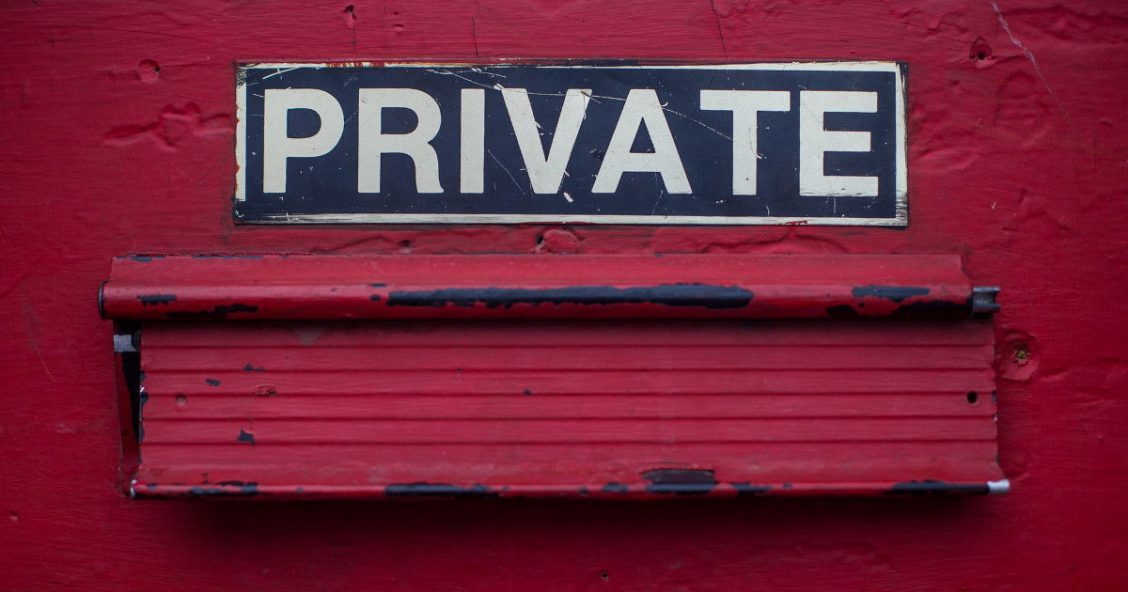"""Private"" sign above a letterbox"