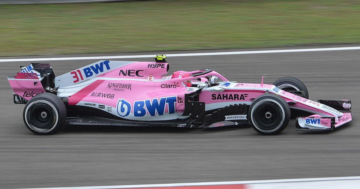 Esteban Ocon driving his Force India (original photo by emperornie)
