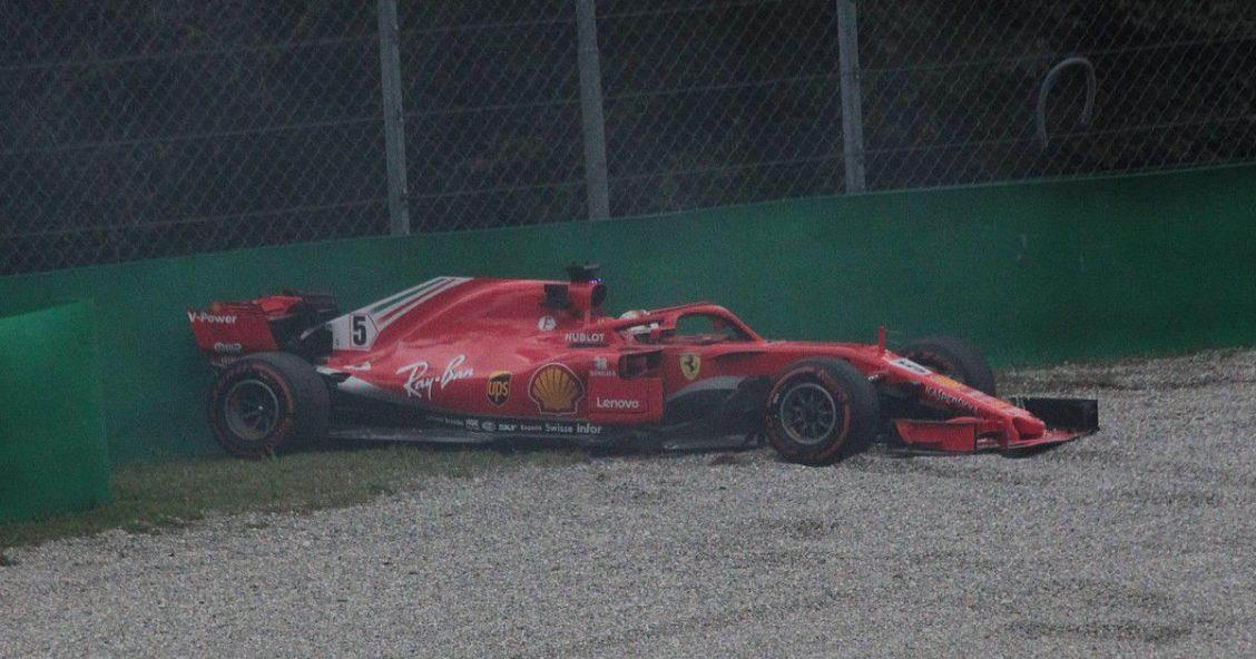 Sebastian Vettel in the gravel trap at Monza (original photo by Eustace Bagge, https://commons.wikimedia.org/wiki/File:Vettel_-_2018_Italian_Grand_Prix_FP2.jpg)