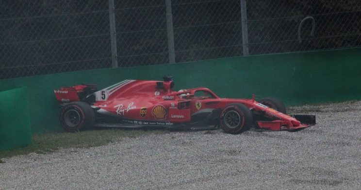 Sebastian Vettel in the gravel trap at Monza (original photo by Eustace Bagge, https://commons.wikimedia.org/wiki/File:Vettel_-_2018_Italian_Grand_Prix_FP2.jpg)