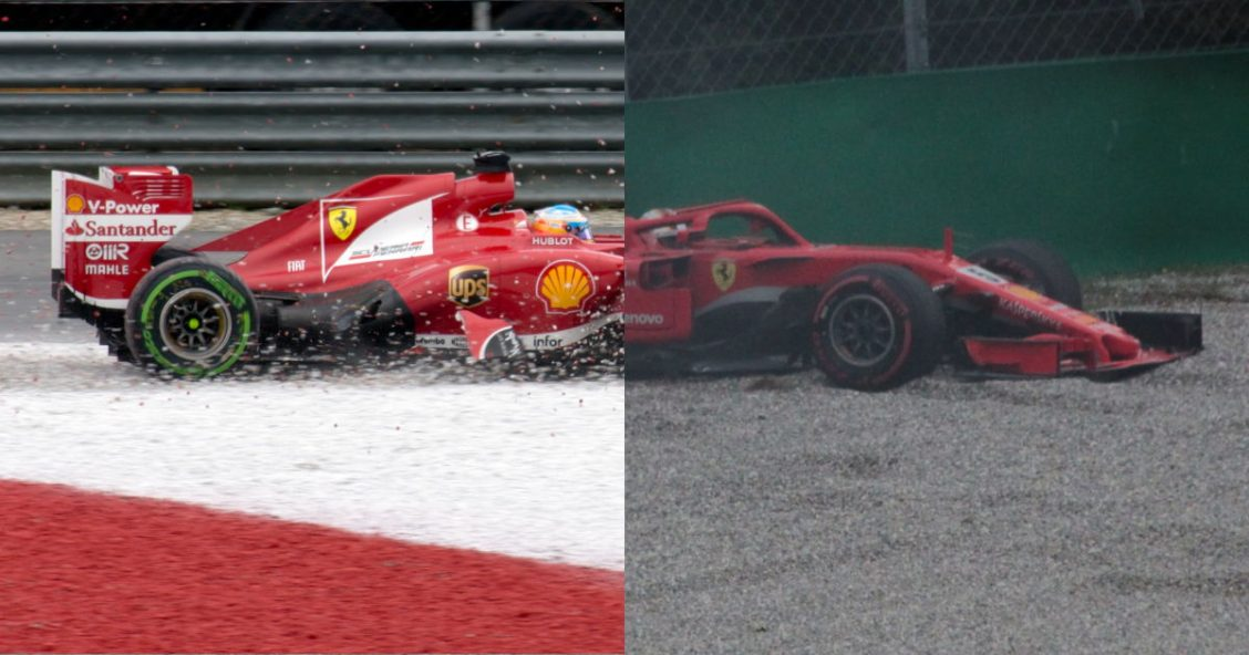 Fernando Alonso and Sebastian Vettel in the gravel trap in their Ferrari cars