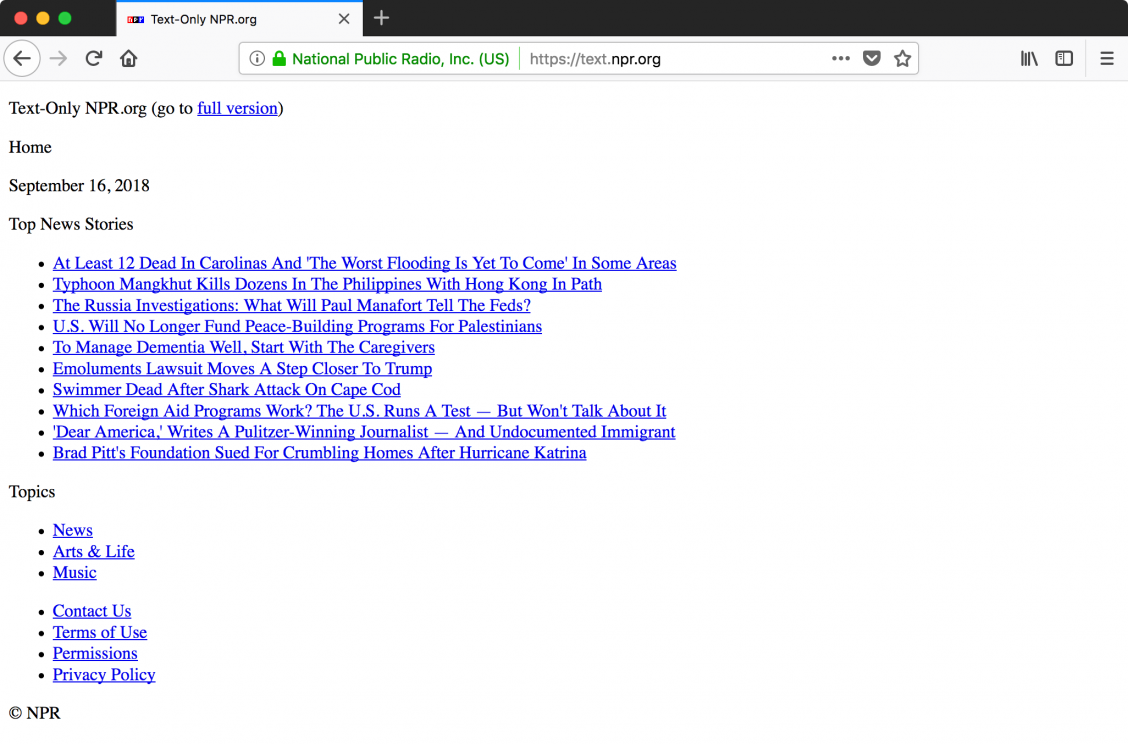 Screenshot of the text only version of the NPR website