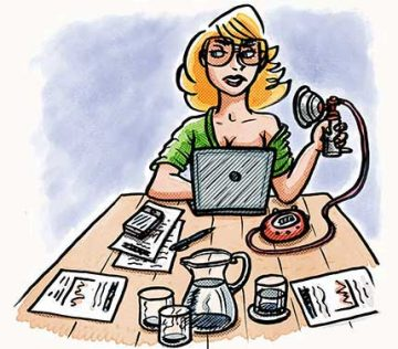 Illustration of a woman in a workplace
