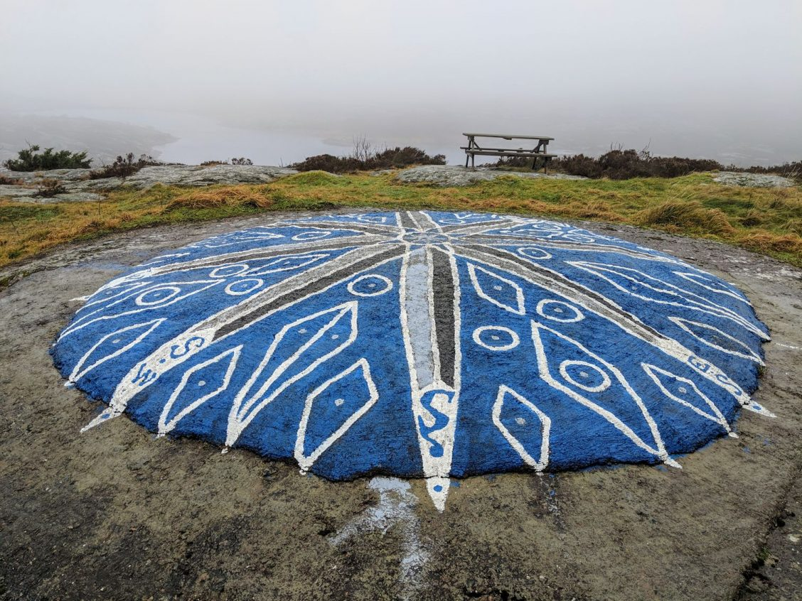 Compass painted on the ground at Marstrand