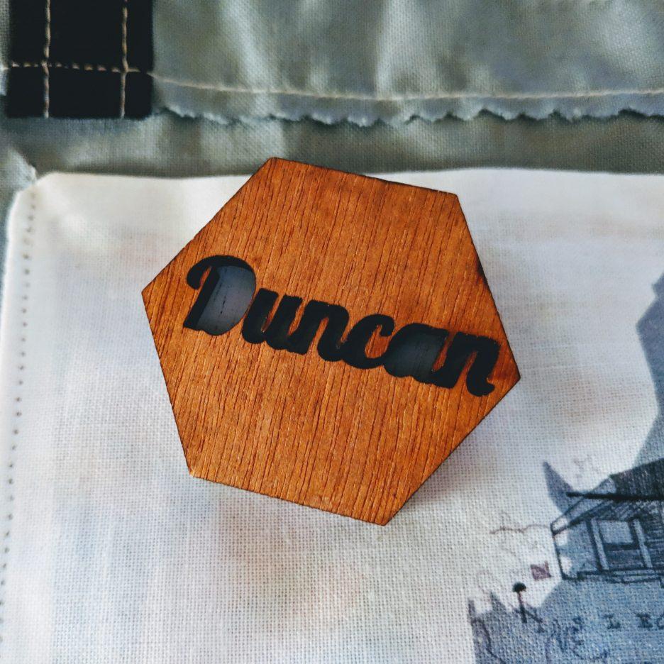'Duncan' hen party badge