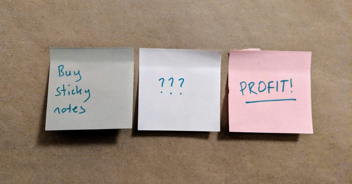 "Sticky notes: ""Buy sticky notes"", ""???"", ""PROFIT!"""