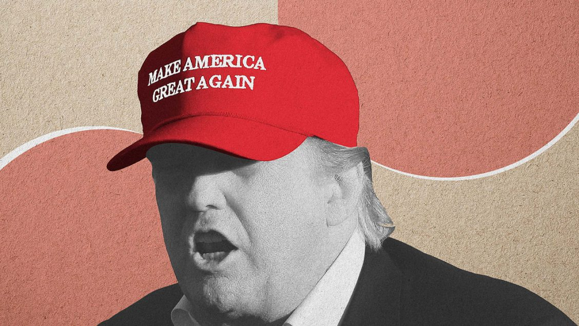 Illustration of Donald Trump wearing a Make America Great Again hat