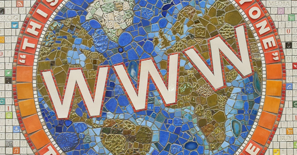 "A mosaic about the world wide web, depicting the letters ""www"" against a globe"