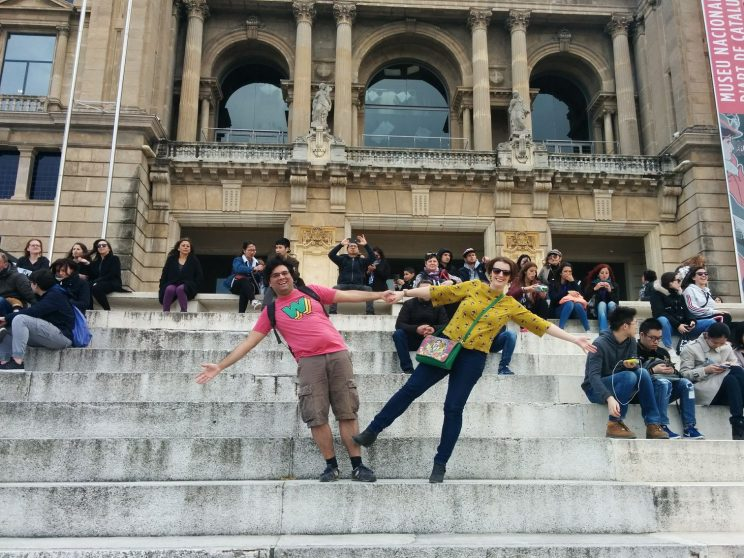 Jamie and Louise having fun in front of Palau Nacional