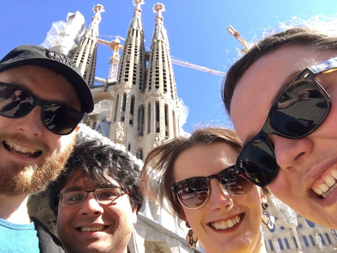 Selfie of all of us outside Sagrada Família