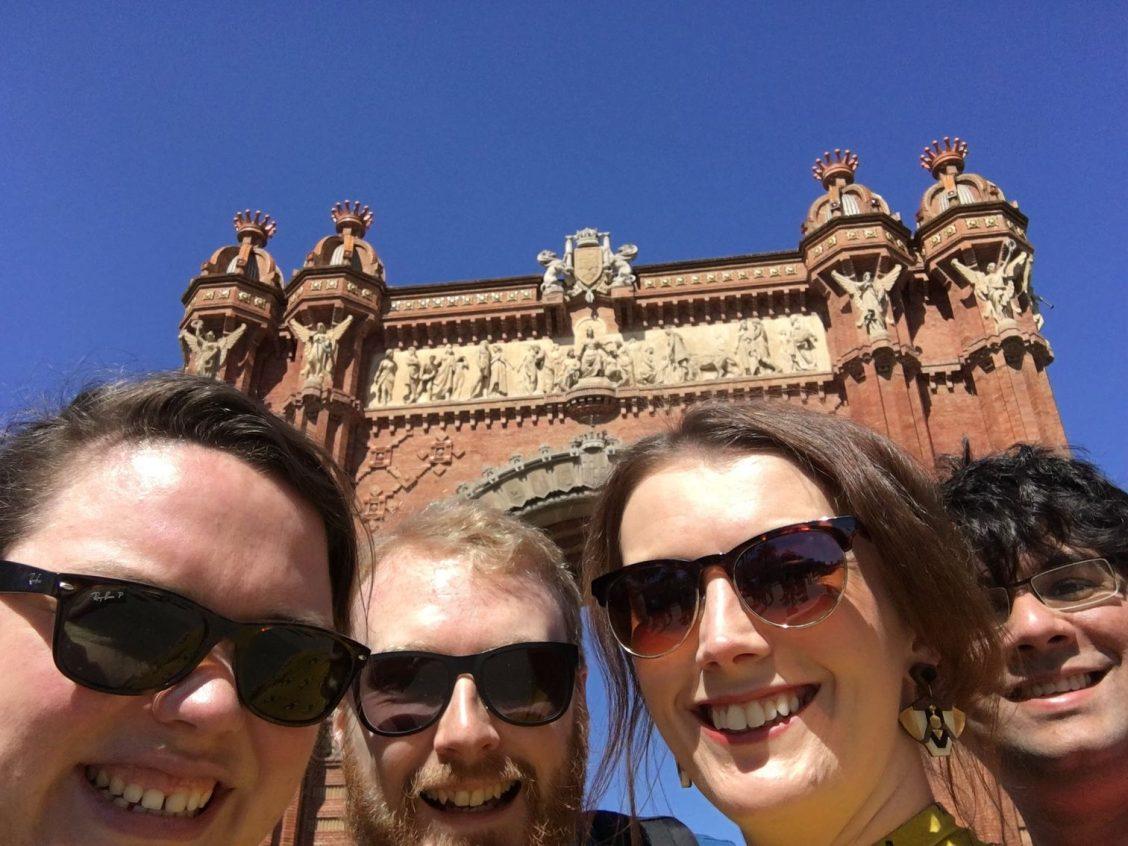 Selfie of all of us in front of Arc de Trimof