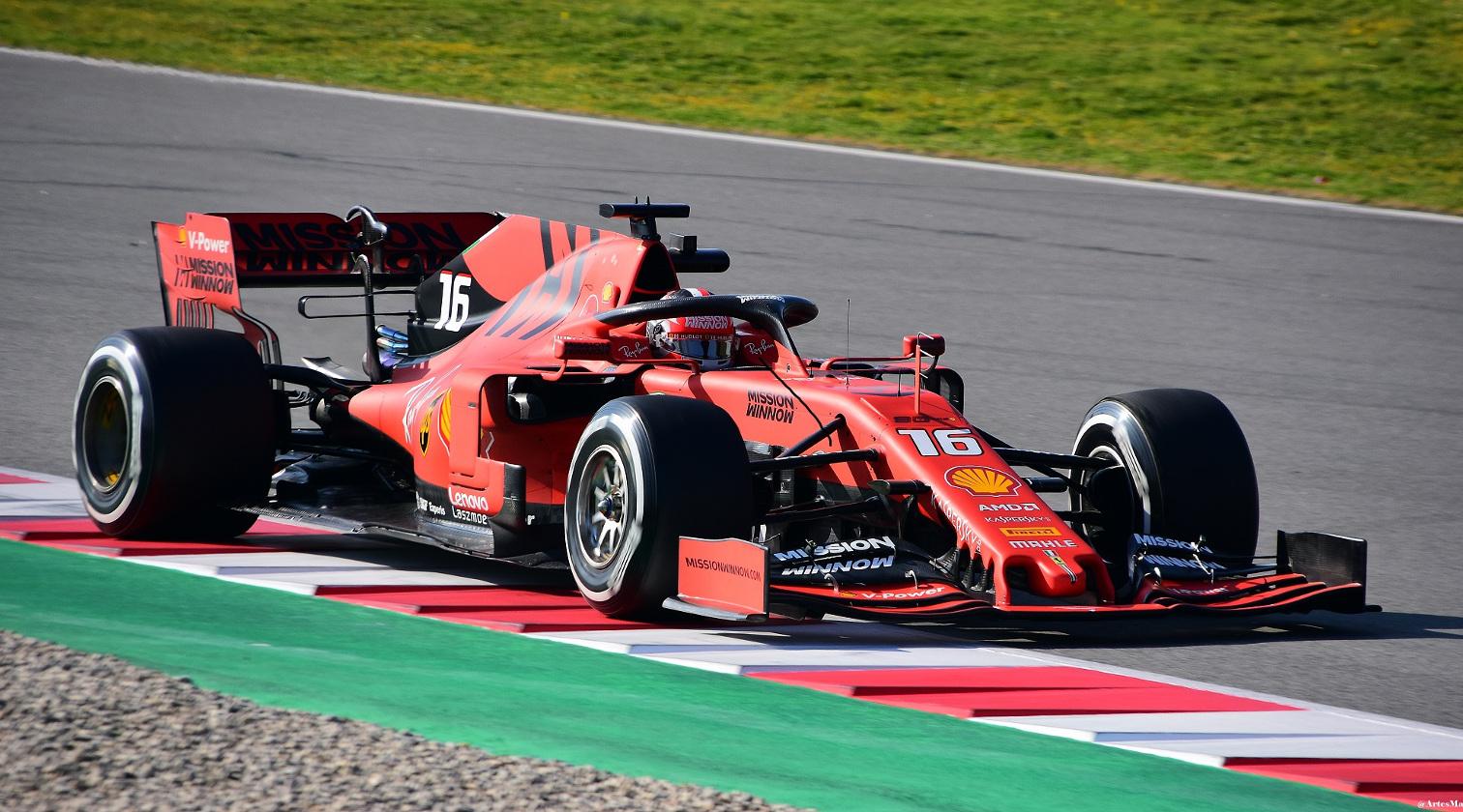 Charles Leclerc testing his Ferrari
