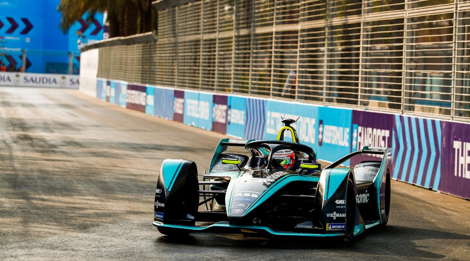 Mitch Evans driving his Jaguar Racing Formula E car