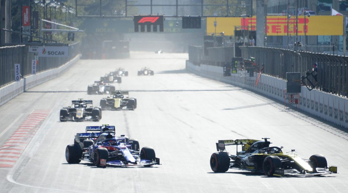 F1 cars racing at the Azerbaijan Grand Prix