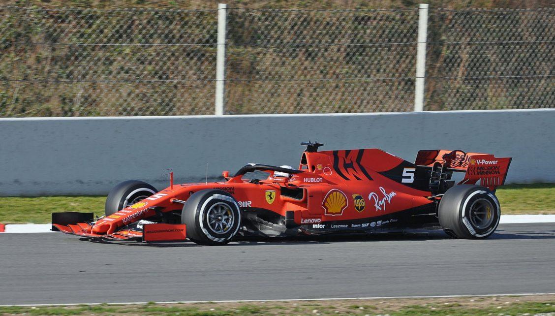 Sebastian Vettel driving his Ferrari