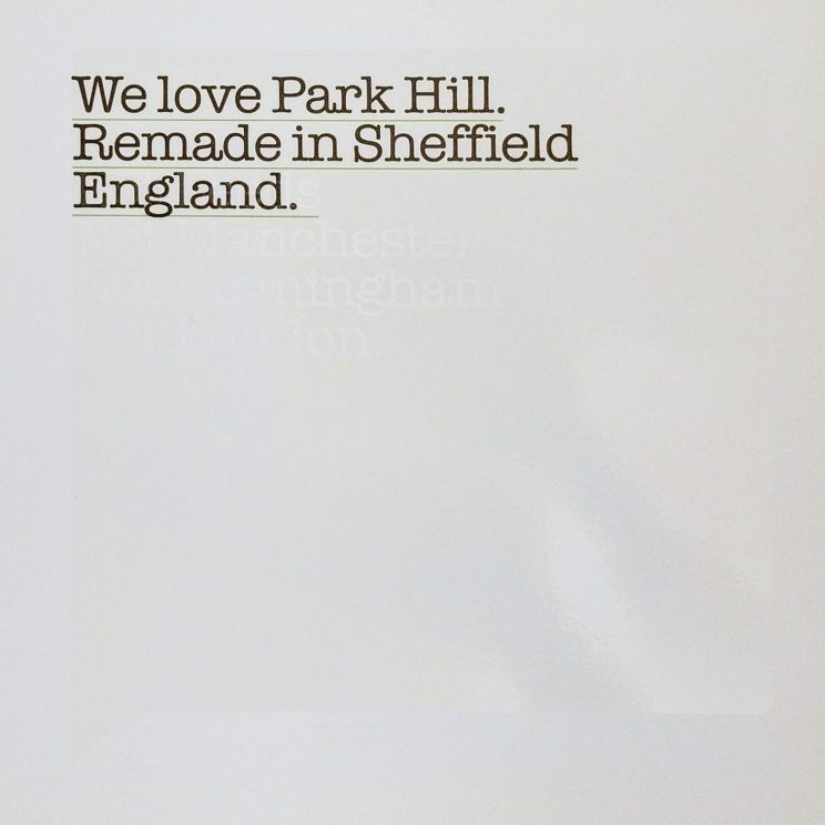"Page in Park Hill: ""We love Park hill. Remade in Sheffield. England."""